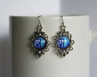Dr. Who Tardis Dangle Earrings Stainless Steel