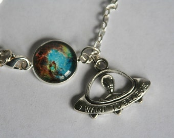 I Want to Believe Alien Spaceship with Glass Cabochon Nebula Bracelet