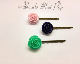 VALENTINES GIFT Mint, Navy Blue & Rose Flower Bobby Pins, Set of 3, Rose Bobby Pins, Hair Clips, Handmade Hair Accessories, Great Value!