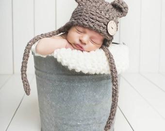 Crochet Newborn Baby Bear Hat, Photography Prop