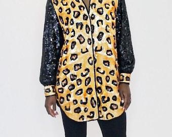 RARE Leopard Sequined Blouse / Long Sequined Shirt / Mini Dress Vintage