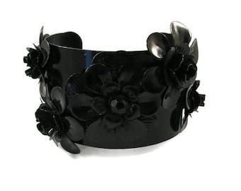 Black Flower Metal Cuff Bracelet