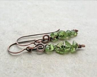 Peridot Copper Dangle Earrings, Silver, Simple, Rustic, delicate, feminine, chakra balancing, green, August birthstone, Heart Chakra
