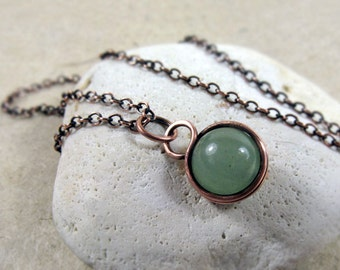 Green Aventurine Wire Wrapped Pendant, Heart Chakra, Sterling Silver, Copper, Minimalist, delicate, simple, prosperity, creativity stone
