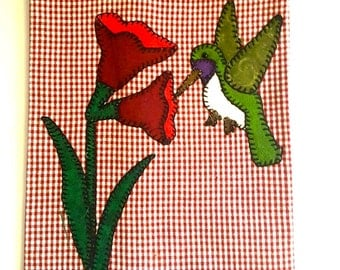 Flower Applique Tea Towel, Flower Applique, Summer Applique, Summer Applique Tea Towel, Flower Kitchen Towel, Hummingbird Applique Tea Towel