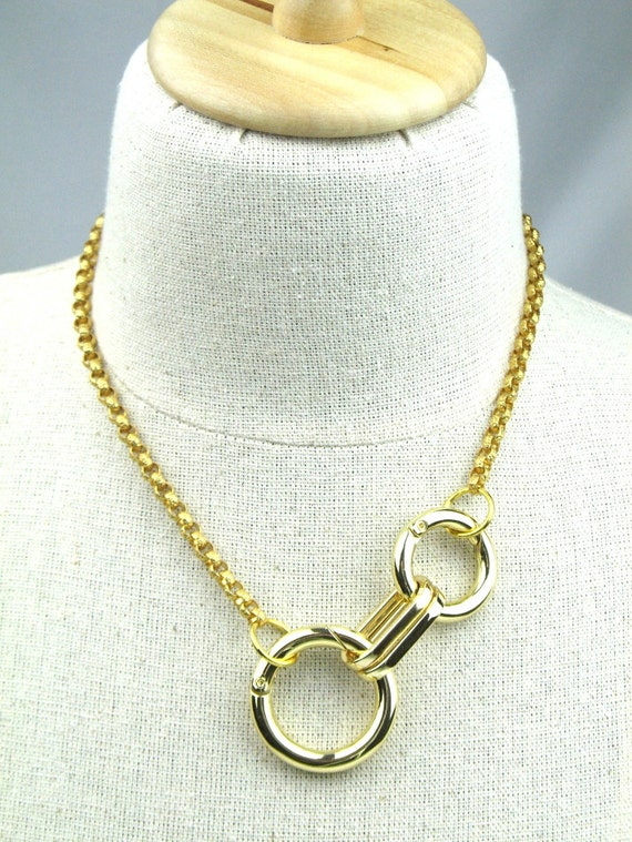 Chain Necklace with Chunky Gold Rings and Solid Italian Textured Brass