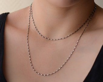 Satellite Layering Necklace, Delicate Beaded Chain, Minimal Layer Necklace