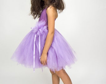 Girl  Tutu Dress. Flower Girl Tulle Dress with Lace Stretch Crochet Bodice.