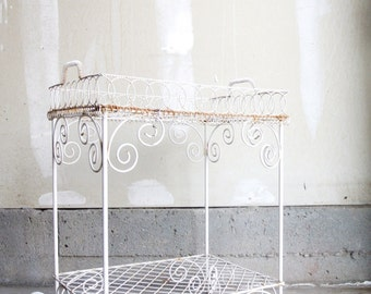 SALE - Stunning Vintage Wrought Iron Plant Stand With Detachable Tray - White Wrought Iron Scroll Stand - Victorian Wrought Iron Plant Stand