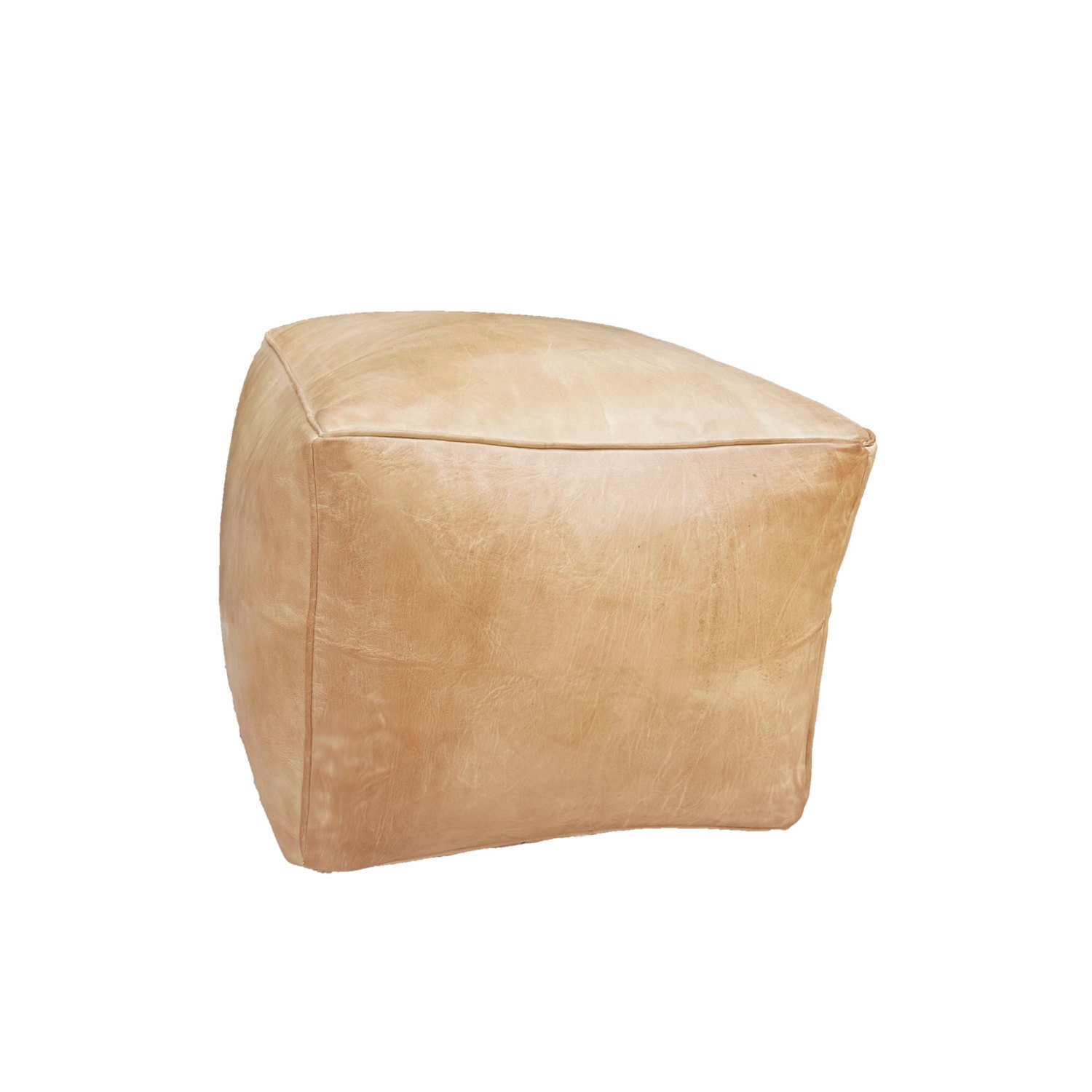leather pouf ottoman natural tan leather cube big sand. Black Bedroom Furniture Sets. Home Design Ideas