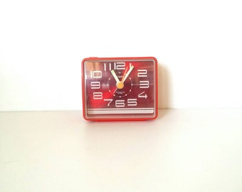 Japanese clock, vintage clock, red japanese clock, red impex.