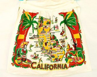 Vtg 50s California Map Half Apron Tourist Souvenir Kitchen Linens Foodie Gifts Mid Century