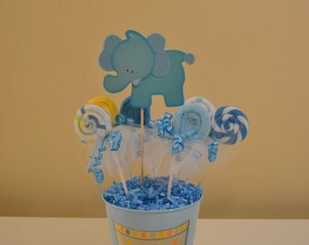 Elephant Baby Shower Centerpiece with Washcloth Lollipop Favors Made to Order for Baby Girls, Baby Boys, or Gender Neutral Showers