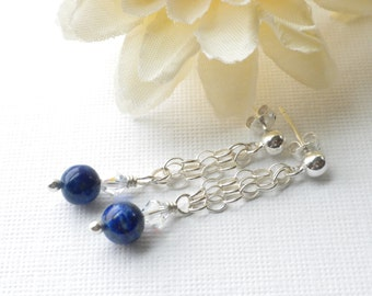 Lapis Lazuli and Sterling Chain Earrings, Blue Healing Stone Dangle Earrings, Lapis and Silver Chain Earrings, Dainty Lapis Chain Earrings