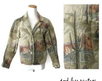 Southwestern Jacket Tapestry Blazer Cactus Desert Scene Saguaro Western Coat 90s Size Small Southwest Clothing