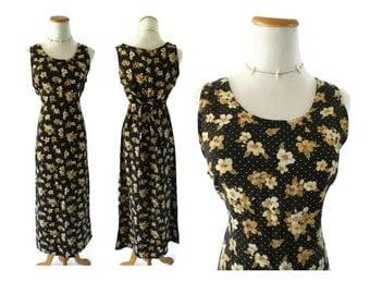 90s Maxi Dress Grunge Clothing Floral Long Side Slits Rayon Soft Grunge Clothes 1990s Polka Dot Black Flowers Medium Vintage