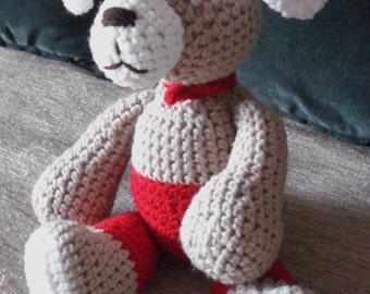 """Crocheted  puppy dog stuffed animal doll toy """"Toby"""""""