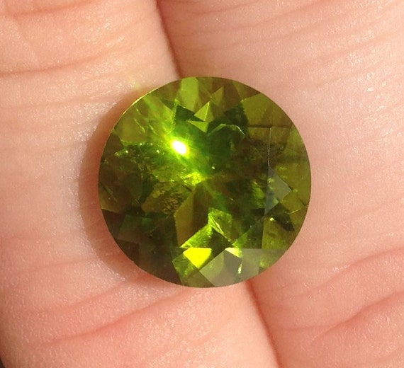 Large Lime Green Peridot 7.4 Carat 12.25x12.25mm Natural Round Gemstone with Video