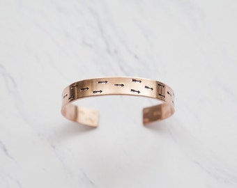 Arrow Handstamped Copper Adjustable Cuff