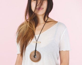 Necklace round walnut wood pendant with adjustable all natural maple hand turned with leather cord