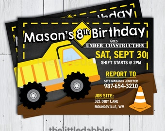 Printable Construction Dump Truck Birthday Invitation -- Construction Site Vehicle Dump Everything First Birthday Party Invitation