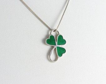 Pendant Sterling Silver 3 Leaf Clover Shamrock Green Pendant