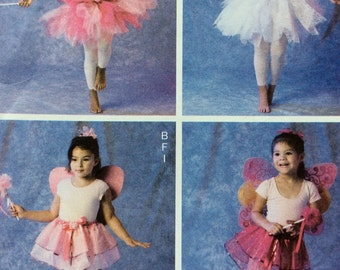 McCalls 6906 UNCUT Childrens Fairy Costume Tutu Ballerina Fairy Wings Wand & Headpiece Sewing Pattern Children's Size 2 3 4 5