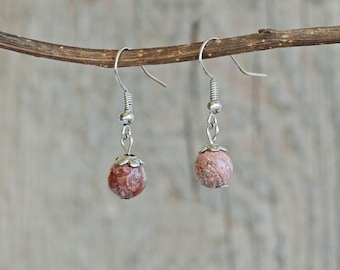 Simplicity - leopard skin jasper earrings, pink stone, healing stone, natural stone, stone dangle earrings, earthy tones, semiprecious stone