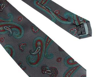 Grey Paisley Print Silk Tie