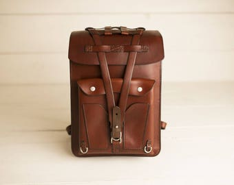 Leather Backpack - Leather Laptop Bag - Small Rucksack - Laptop Backpack - Laptop Case - Macbook Bag - Handmade - School Bag - JPDco