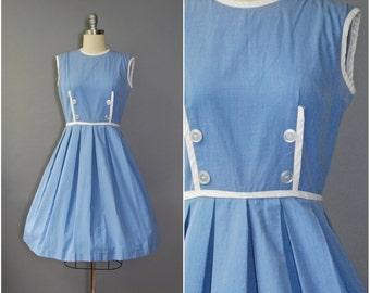 1950's Cotton Dress • Cornflower Blue Dress • 50's Sleeveless Dress
