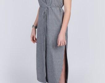 Organic cotton dress - black white stripe