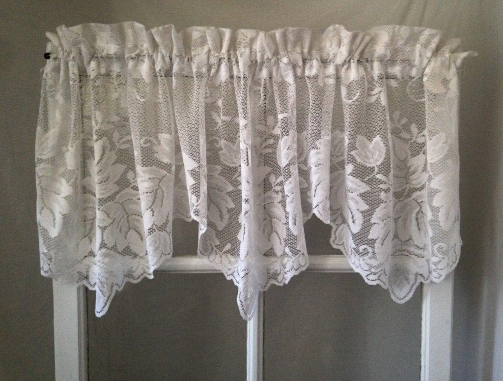 Three Distinct Scalloped White Lace Curtain Valance Victorian