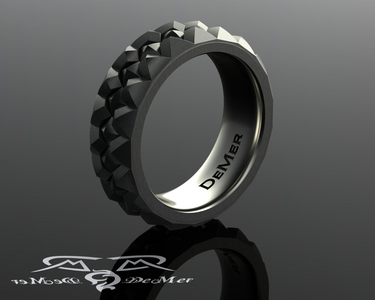 Ring In The Steampunk Decor To Pimp Up Your Home: Knurled Pyramid Stud Wedding Band. Heavy White Gold 8mm Mens