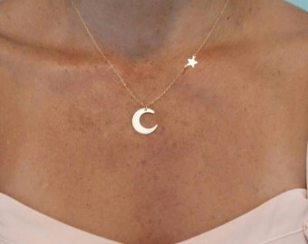 Moon and Star, Necklace, moon Necklace, Star Necklace, Gold or Silver, gold moon Necklace, Silver Moon Necklace