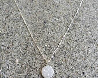 Tiny Sterling Silver Druzy necklace, Dainty, Druzy, Silver Necklace