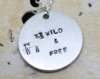 Wild free deer necklace - cute deer jewellery - vegan necklace - hippie - boho - gypsy - animal necklace