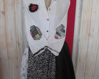 L-XL Boho Funky Game Dress Upcycled Quirky