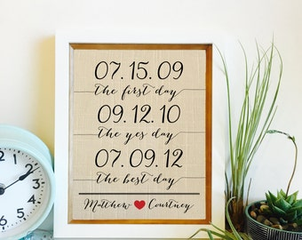 Personalized Linen Print | the first day, the yes day, the best day | Linen 4 year Anniversary Gift  | Frame not included