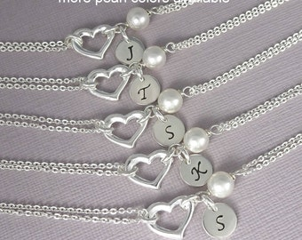 Sterling Silver Heart Bracelet, Sterling Silver Heart and Swarovski White Pearl Bracelet, Bridesmaid Bracelet, Bridesmaid Gift