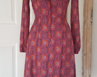 70s Dress / Vintage Dress / Sailor Collar Dress / Pixel Print / Floral Print / Size 8 UK / Size Small