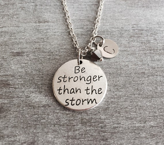 18th Birthday Cz T Bar Sterling Silver Heart Bracelet Can: Be Stronger Than The Storm Silver Charm Necklace Quote