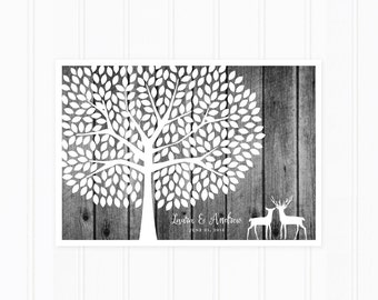 Wedding Guest Book Tree, Guest Book Poster, 300 Guest Signatures with Deer