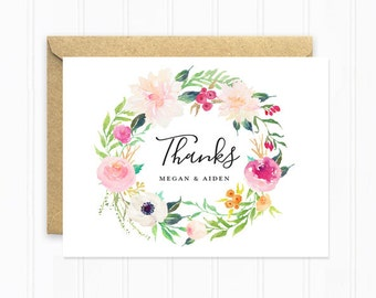 Watercolor Wedding Thank You Cards, Boho Wedding Stationery, Personalized Thank You Cards