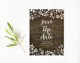 Rustic Save The Date, White Floral Design, Wood Save The Date Cards