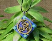 Blue Triskelion Orgonite Pendant - Turquoise - Orgone Healing - Unique Handmade Jewelry - Unisex Mens/Womens Organite - Medium - Diamond