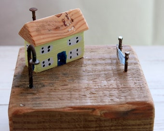 wooden houses -nautical decor - driftwood art - driftwood cottages - driftwood - gift for him- Harbour scene - fishing harbour - uk seller