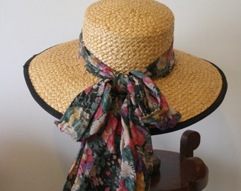 Vintage 1970s 1980s Floral Band Straw Wide Brim Boater Sun Hat