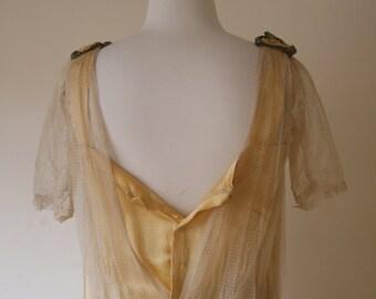 1920s Yellow Silk & Swiss Dot Tulle Dreamy Flapper Dress S