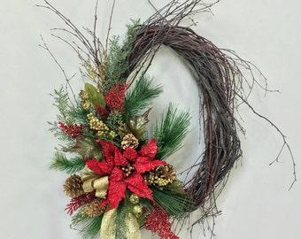 Christmas Wreath, Poinsettia Wreath, Holiday Wreath, Holiday Door Decor, Christmas Decor, Poinsettia, Winter Wreath, Woodland Wreath